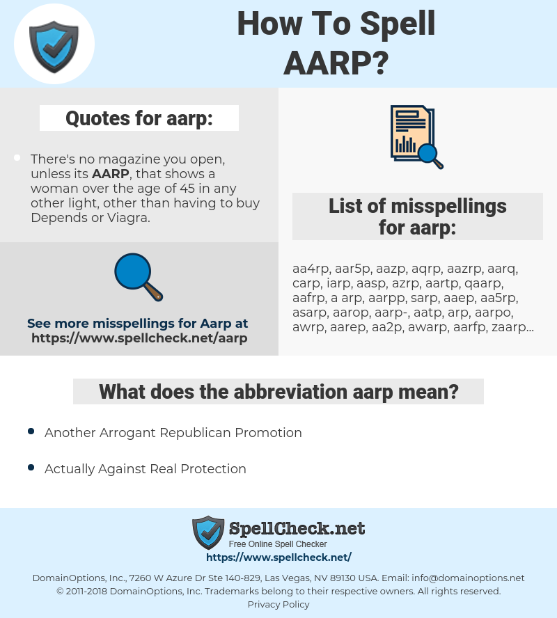 aarp, spellcheck aarp, how to spell aarp, how do you spell aarp, correct spelling for aarp