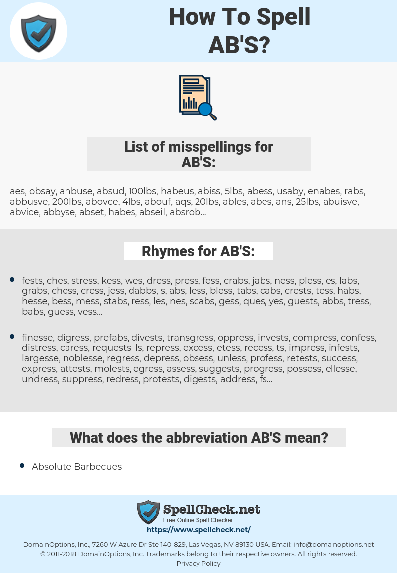 AB'S, spellcheck AB'S, how to spell AB'S, how do you spell AB'S, correct spelling for AB'S