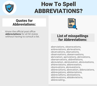Abbreviations, spellcheck Abbreviations, how to spell Abbreviations, how do you spell Abbreviations, correct spelling for Abbreviations