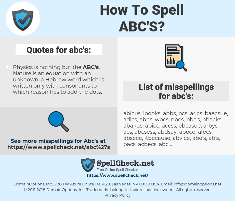 abc's, spellcheck abc's, how to spell abc's, how do you spell abc's, correct spelling for abc's