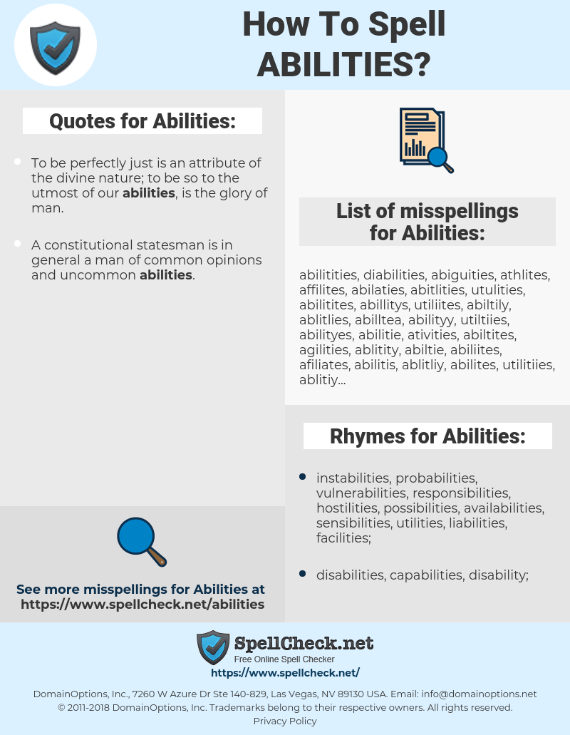 Abilities, spellcheck Abilities, how to spell Abilities, how do you spell Abilities, correct spelling for Abilities