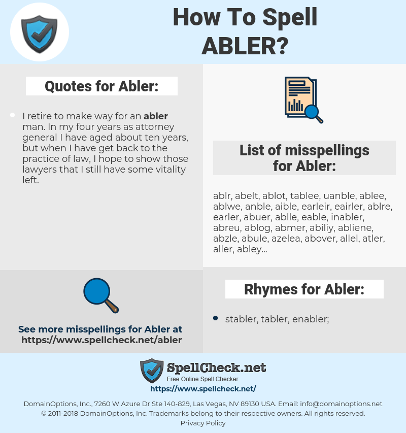 Abler, spellcheck Abler, how to spell Abler, how do you spell Abler, correct spelling for Abler