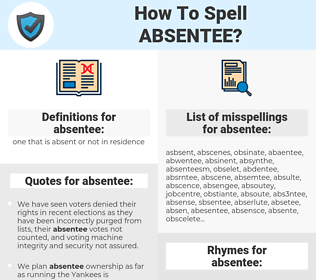 absentee, spellcheck absentee, how to spell absentee, how do you spell absentee, correct spelling for absentee