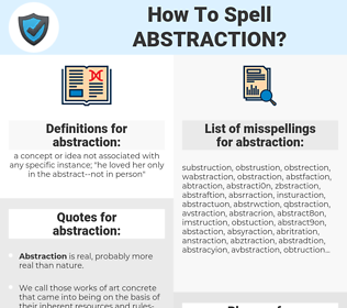 abstraction, spellcheck abstraction, how to spell abstraction, how do you spell abstraction, correct spelling for abstraction