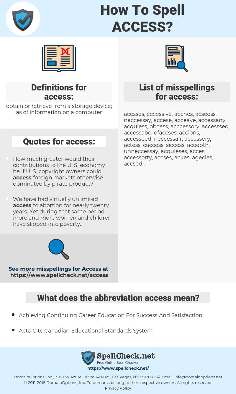 access, spellcheck access, how to spell access, how do you spell access, correct spelling for access
