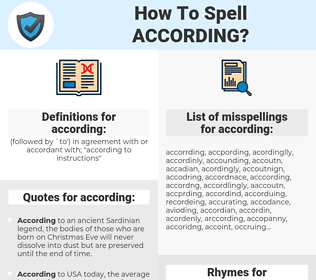 according, spellcheck according, how to spell according, how do you spell according, correct spelling for according