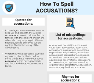 accusations, spellcheck accusations, how to spell accusations, how do you spell accusations, correct spelling for accusations