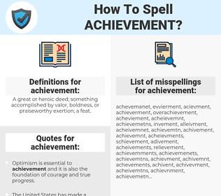 achievement, spellcheck achievement, how to spell achievement, how do you spell achievement, correct spelling for achievement