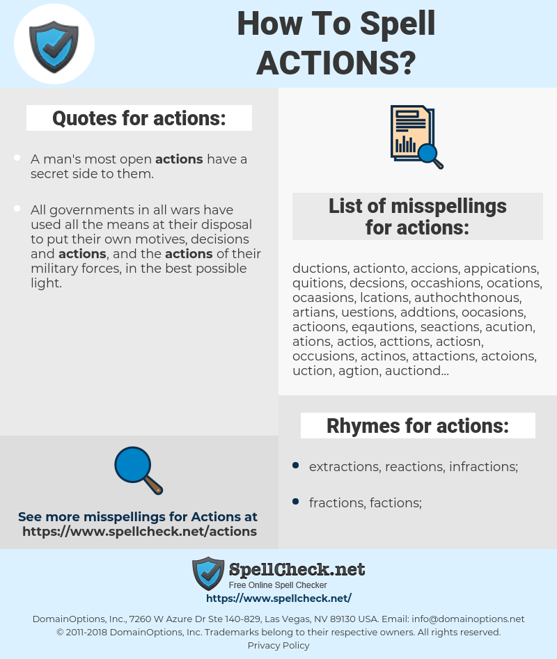 actions, spellcheck actions, how to spell actions, how do you spell actions, correct spelling for actions