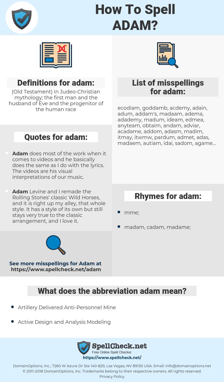 adam, spellcheck adam, how to spell adam, how do you spell adam, correct spelling for adam