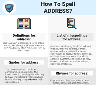 address, spellcheck address, how to spell address, how do you spell address, correct spelling for address
