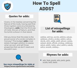 adds, spellcheck adds, how to spell adds, how do you spell adds, correct spelling for adds