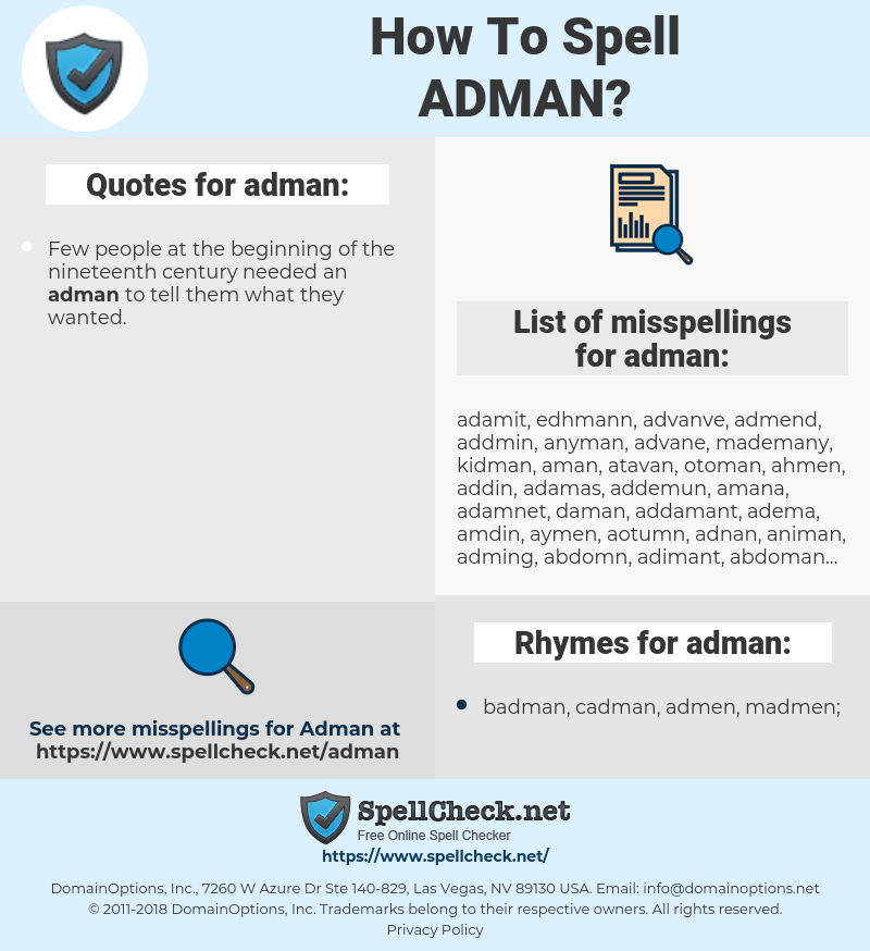 adman, spellcheck adman, how to spell adman, how do you spell adman, correct spelling for adman