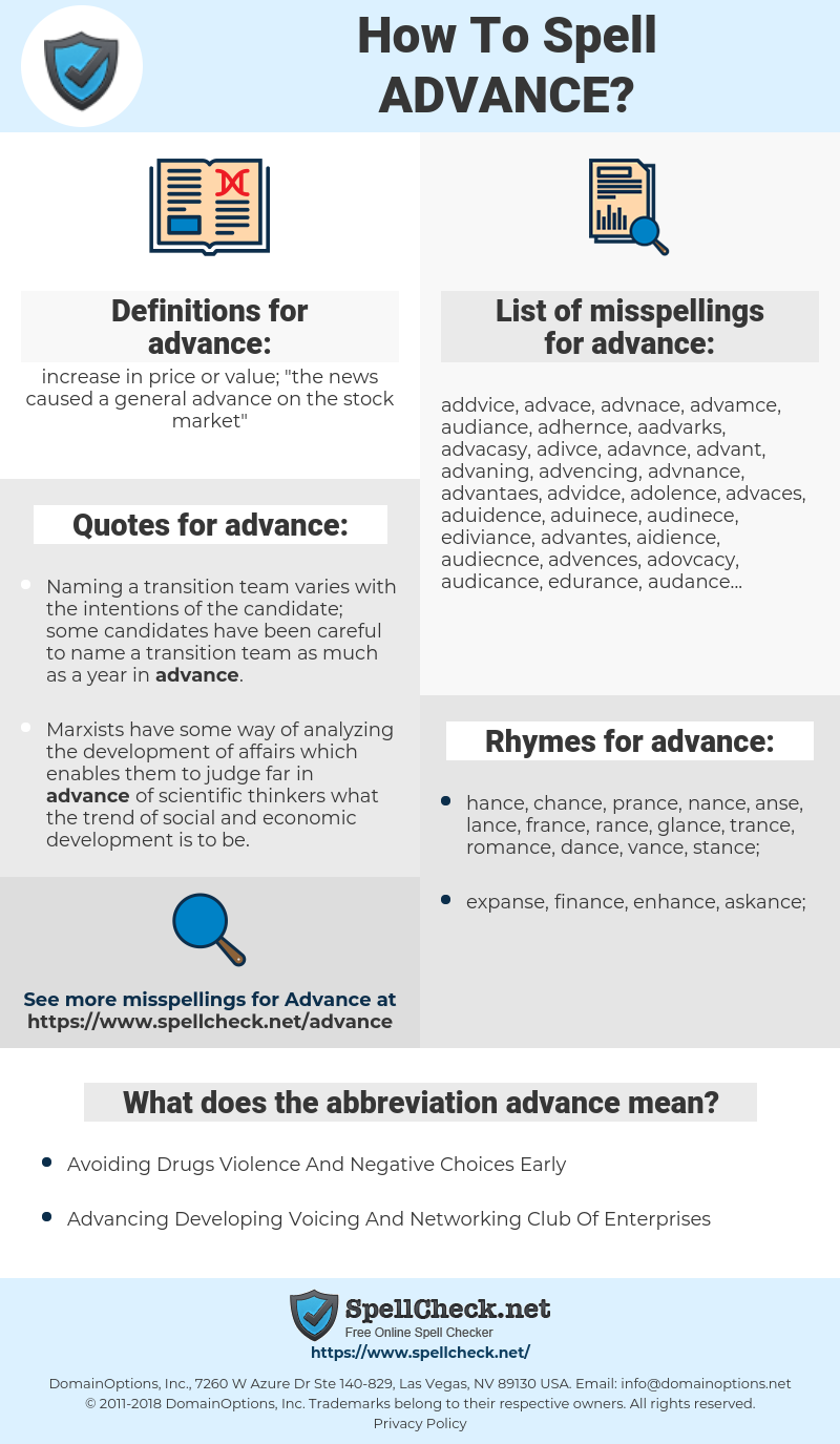 advance, spellcheck advance, how to spell advance, how do you spell advance, correct spelling for advance