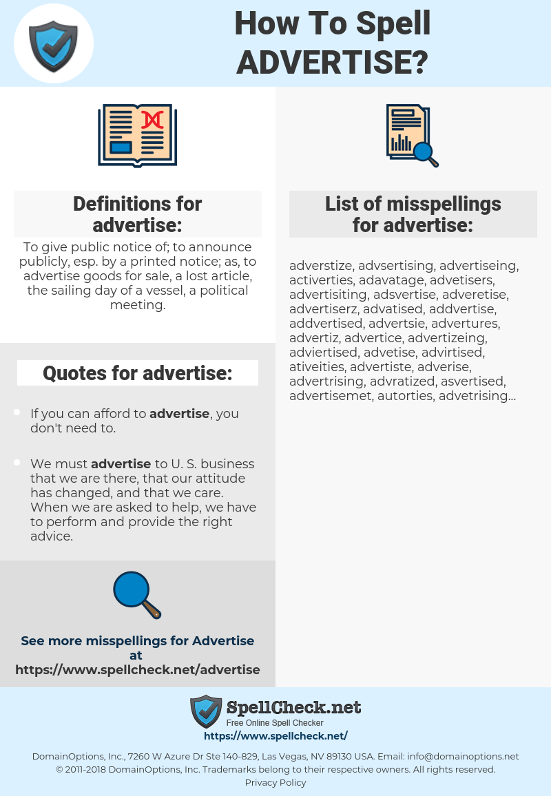 advertise, spellcheck advertise, how to spell advertise, how do you spell advertise, correct spelling for advertise