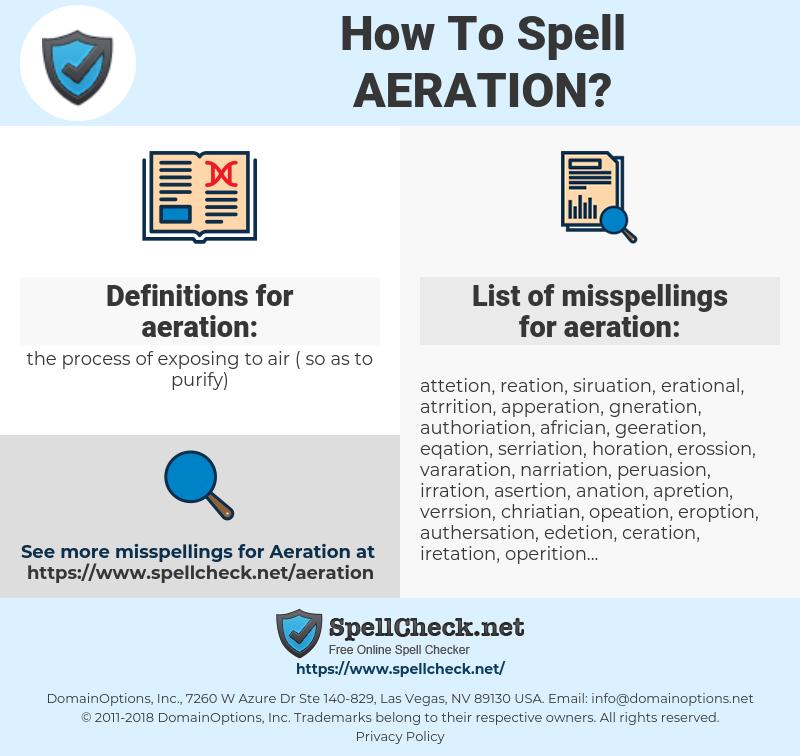 aeration, spellcheck aeration, how to spell aeration, how do you spell aeration, correct spelling for aeration