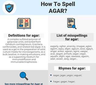 agar, spellcheck agar, how to spell agar, how do you spell agar, correct spelling for agar