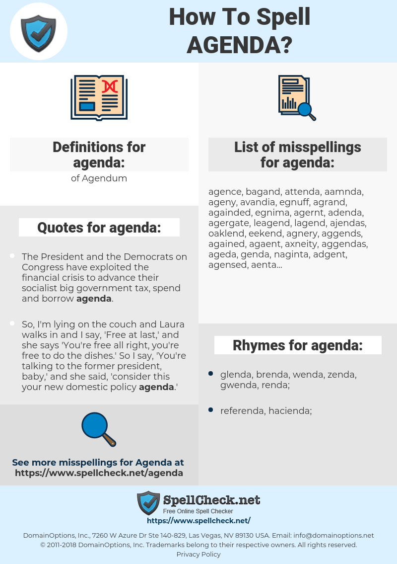 agenda, spellcheck agenda, how to spell agenda, how do you spell agenda, correct spelling for agenda