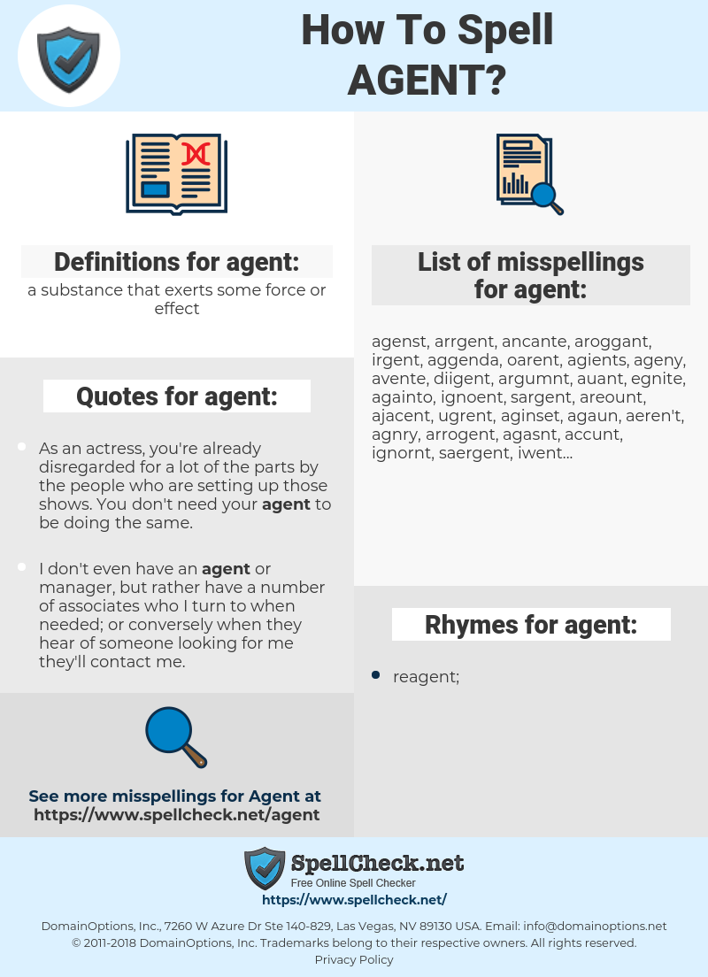 agent, spellcheck agent, how to spell agent, how do you spell agent, correct spelling for agent