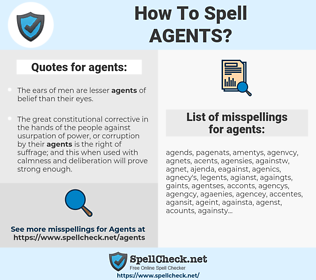 agents, spellcheck agents, how to spell agents, how do you spell agents, correct spelling for agents
