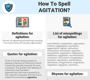 agitation, spellcheck agitation, how to spell agitation, how do you spell agitation, correct spelling for agitation