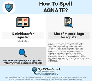 agnate, spellcheck agnate, how to spell agnate, how do you spell agnate, correct spelling for agnate