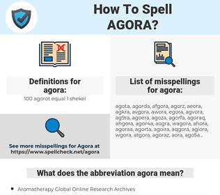 agora, spellcheck agora, how to spell agora, how do you spell agora, correct spelling for agora