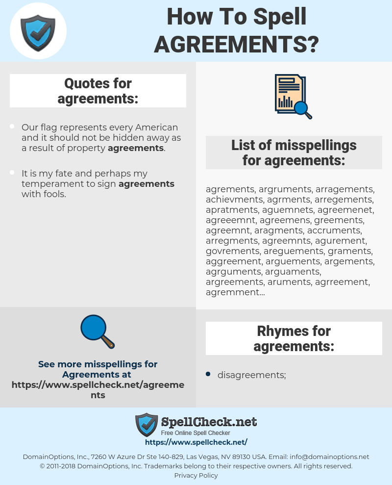 agreements, spellcheck agreements, how to spell agreements, how do you spell agreements, correct spelling for agreements