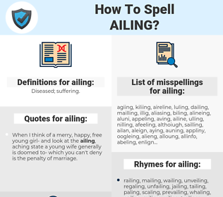 ailing, spellcheck ailing, how to spell ailing, how do you spell ailing, correct spelling for ailing