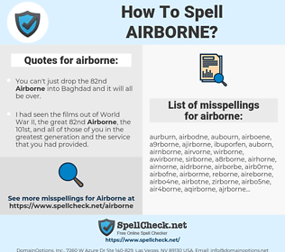 airborne, spellcheck airborne, how to spell airborne, how do you spell airborne, correct spelling for airborne