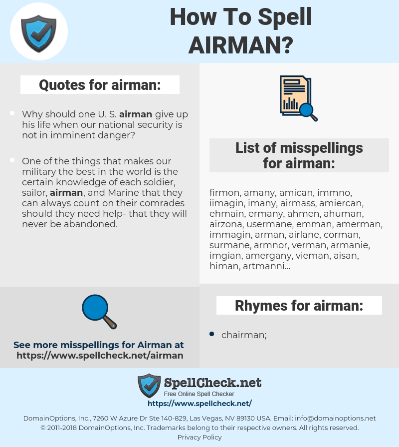 airman, spellcheck airman, how to spell airman, how do you spell airman, correct spelling for airman