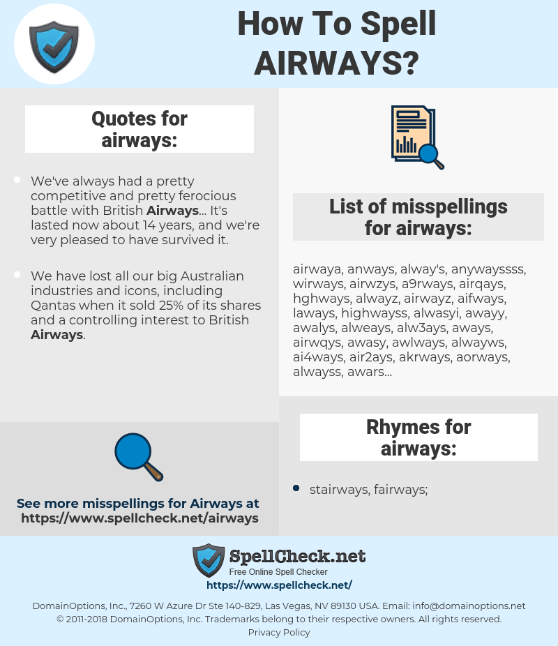 airways, spellcheck airways, how to spell airways, how do you spell airways, correct spelling for airways