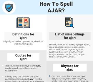 ajar, spellcheck ajar, how to spell ajar, how do you spell ajar, correct spelling for ajar