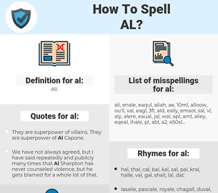 al, spellcheck al, how to spell al, how do you spell al, correct spelling for al