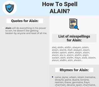 Alain, spellcheck Alain, how to spell Alain, how do you spell Alain, correct spelling for Alain