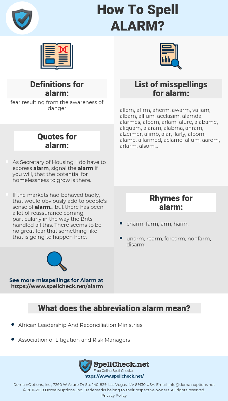 alarm, spellcheck alarm, how to spell alarm, how do you spell alarm, correct spelling for alarm