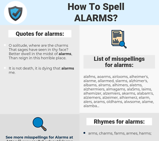 alarms, spellcheck alarms, how to spell alarms, how do you spell alarms, correct spelling for alarms