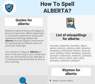 alberta, spellcheck alberta, how to spell alberta, how do you spell alberta, correct spelling for alberta