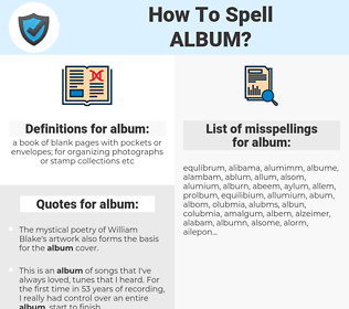 album, spellcheck album, how to spell album, how do you spell album, correct spelling for album