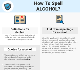 alcohol, spellcheck alcohol, how to spell alcohol, how do you spell alcohol, correct spelling for alcohol