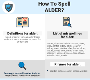 alder, spellcheck alder, how to spell alder, how do you spell alder, correct spelling for alder