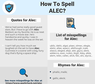 Alec, spellcheck Alec, how to spell Alec, how do you spell Alec, correct spelling for Alec