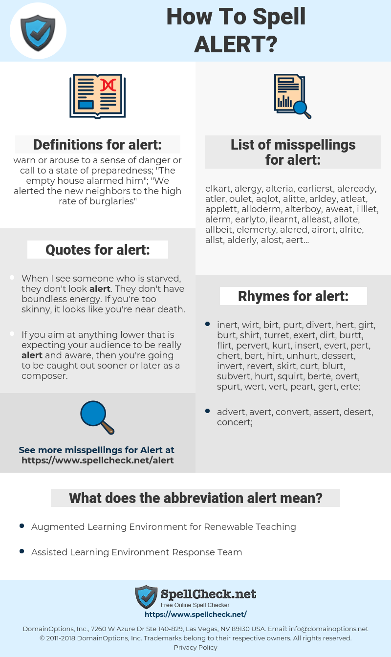 alert, spellcheck alert, how to spell alert, how do you spell alert, correct spelling for alert