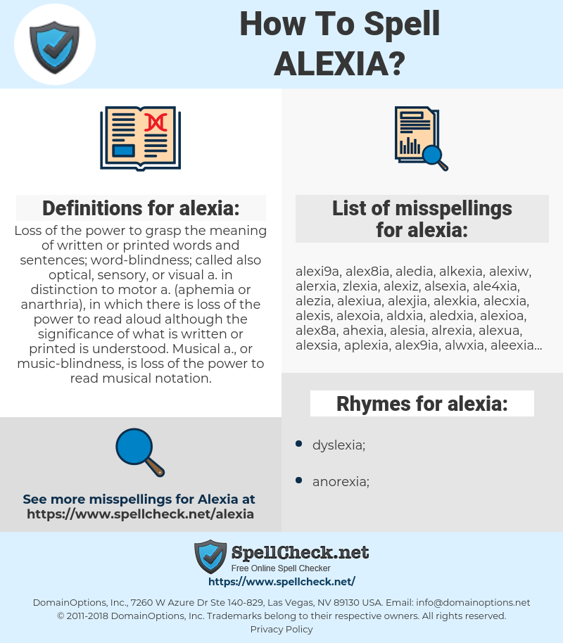 alexia, spellcheck alexia, how to spell alexia, how do you spell alexia, correct spelling for alexia