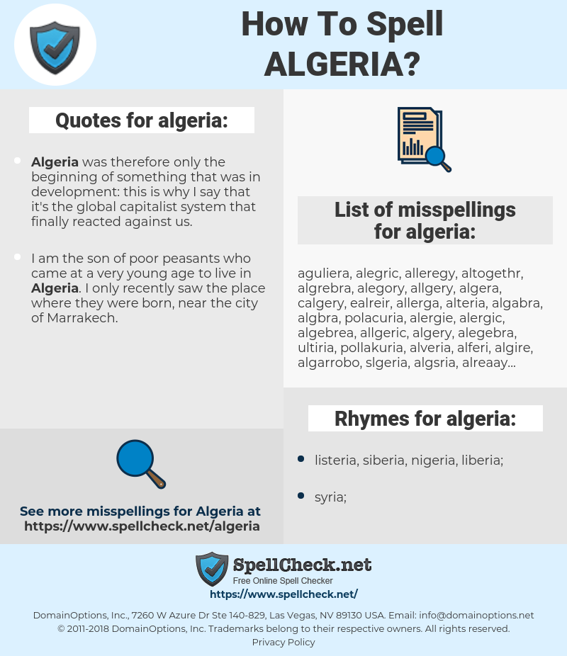 algeria, spellcheck algeria, how to spell algeria, how do you spell algeria, correct spelling for algeria