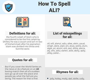 ali, spellcheck ali, how to spell ali, how do you spell ali, correct spelling for ali