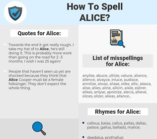 Alice, spellcheck Alice, how to spell Alice, how do you spell Alice, correct spelling for Alice