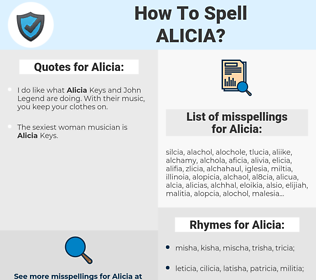 Alicia, spellcheck Alicia, how to spell Alicia, how do you spell Alicia, correct spelling for Alicia