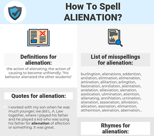 alienation, spellcheck alienation, how to spell alienation, how do you spell alienation, correct spelling for alienation