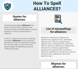 alliances, spellcheck alliances, how to spell alliances, how do you spell alliances, correct spelling for alliances